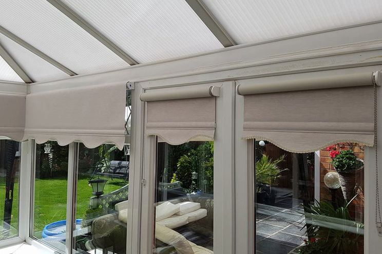 Perfect Fit blinds installed in a conservatory