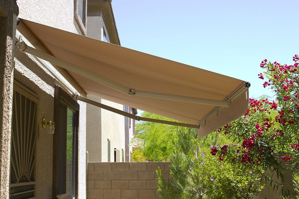 A garden awning installed in a garden