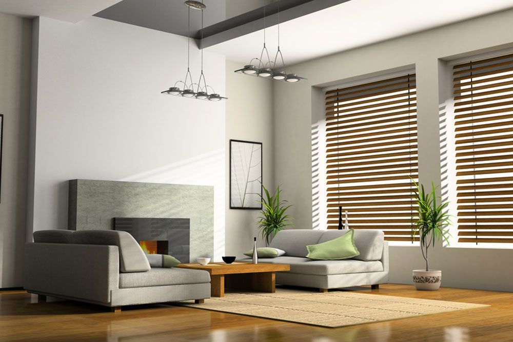 Stylish blinds in a living room