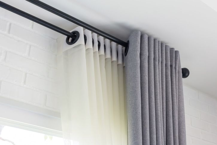 close up image of curtain rails